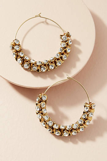 Sparkle Cuff Hoop Earrings