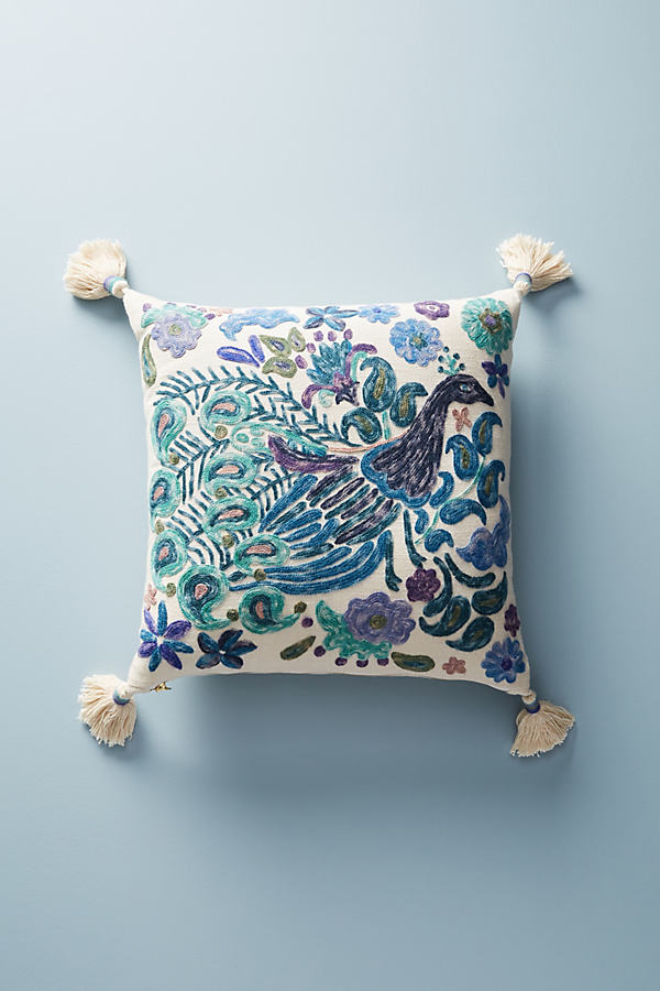 Melika Embroidered Cushion - Blue Motif, Size Square