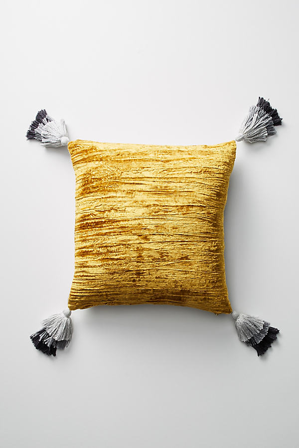 Eryn Tasseled Velvet Cushion - Dark Yellow