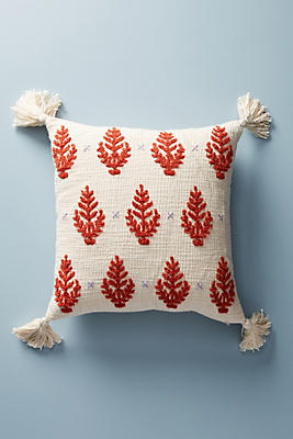 Slide View: 1: Embroidered Rue Pillow