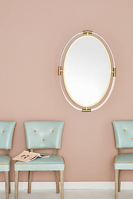 Slide View: 1: Oval Brass-Capped Mirror