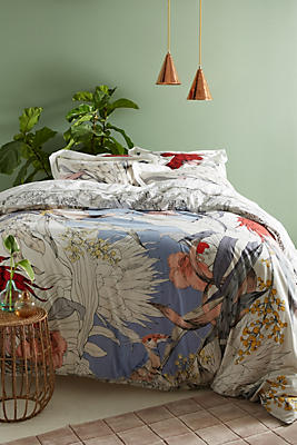 Slide View: 1: Longina Sketched Songbird Duvet Cover