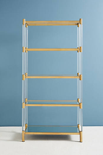 Slide View: 2: Oscarine Lucite Mirrored Bookshelf