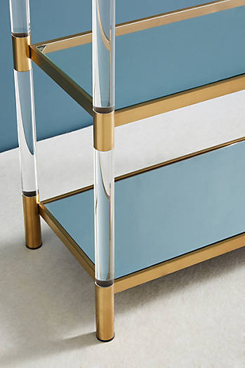 Slide View: 3: Oscarine Lucite Mirrored Bookshelf