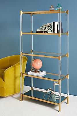 Slide View: 1: Oscarine Lucite Mirrored Bookshelf