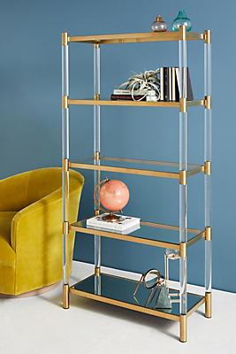 Slide View: 1: Oscarine Lucite Mirrored Bookshelf