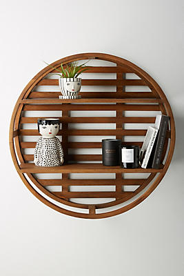 Slide View: 1: Wooden Wheel Shelving Unit