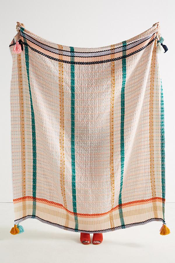 Tasseled Grid Throw Blanket - A/s