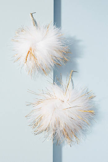 Blanc Pom Drop Earrings