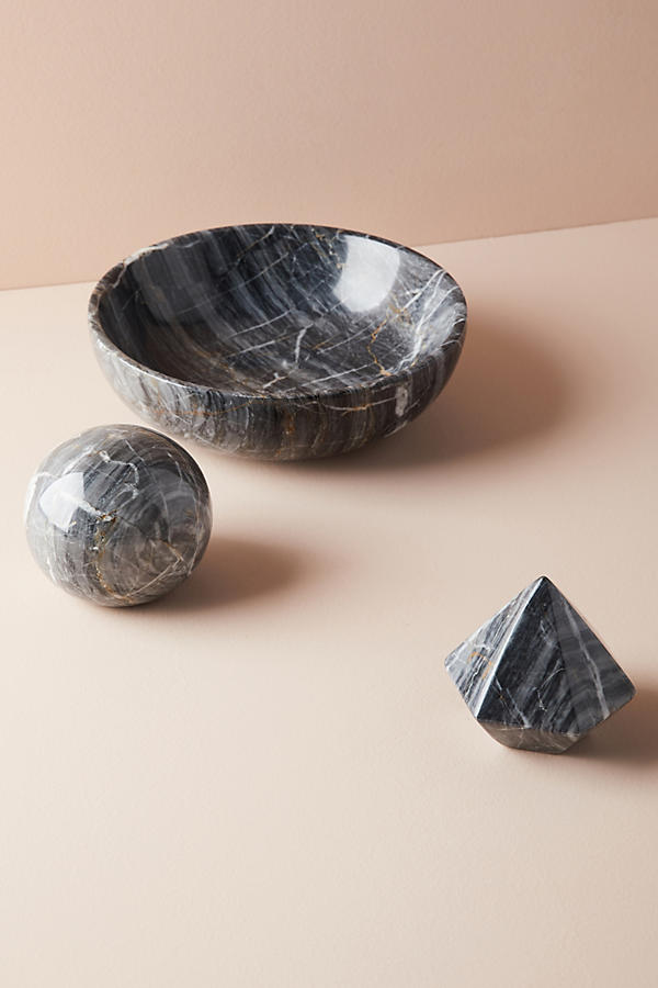 Slide View: 1: Black Marble Decorative Object