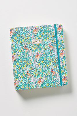 Slide View: 1: Liberty for Anthropologie Peacock Orchid 2017-2018 Planner