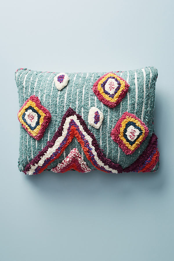 "Tufted Ayla Pillow - Dark Turquoise, Size 20"" Square"
