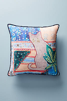 Slide View: 1: Embroidered Ruby Pillow