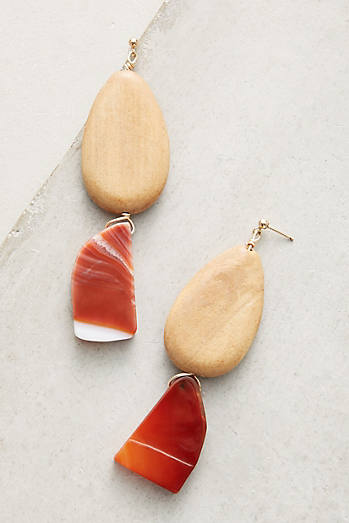 Almond Agate Drop Earrings