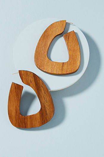 Wooden Bell Hoop Earrings