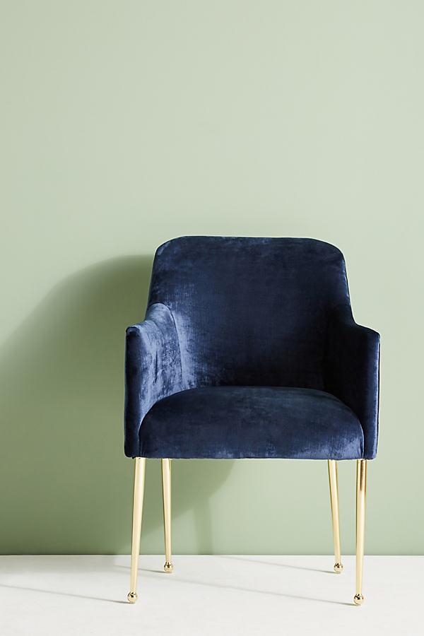Slub Velvet Elowen Armchair - Sapphire
