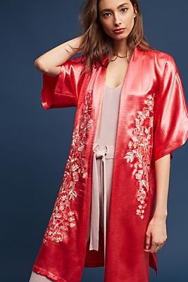 Slide View: 1: Embroidered Satin Kimono