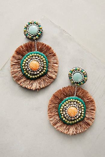 Fringed Circlet Drop Earrings