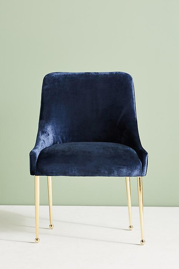 Slub Velvet Elowen Chair - Sapphire