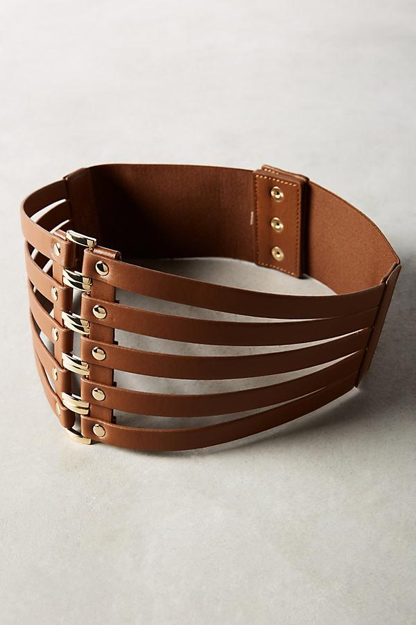 Cut-Out Corset Belt - Brown, Size M/l