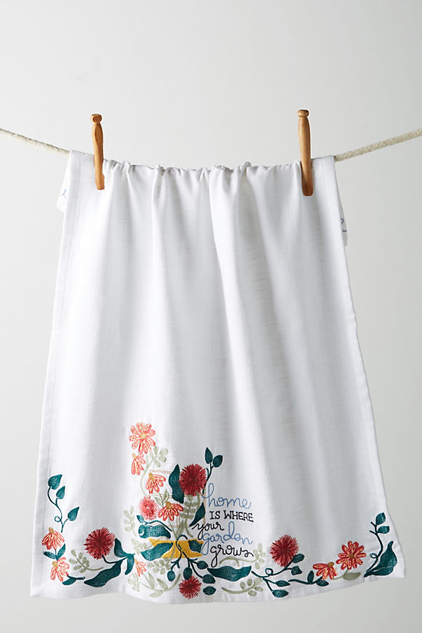 Home Is Where Your Garden Grows Tea Towel - White, Size Dishtowel