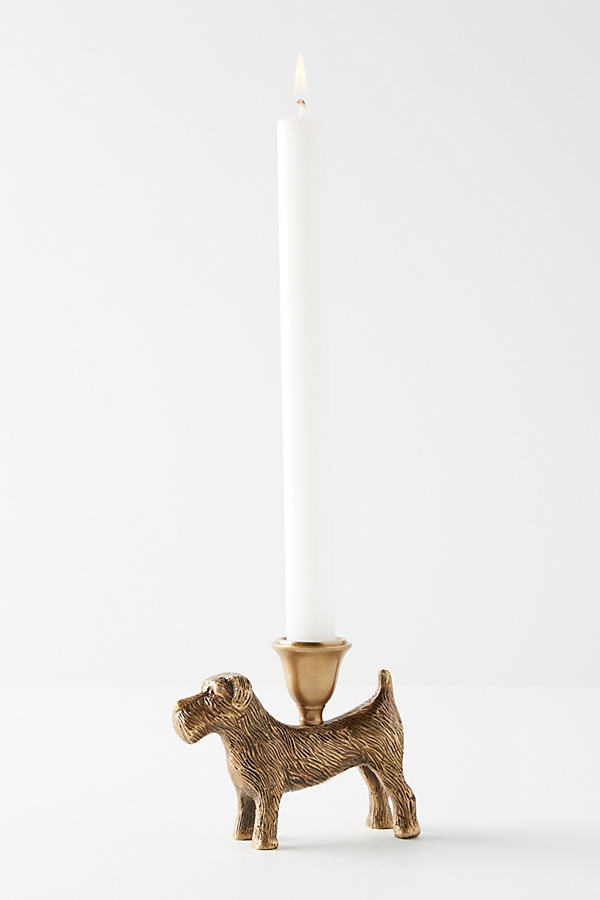 Terrier Candlestick Holder - Bronze