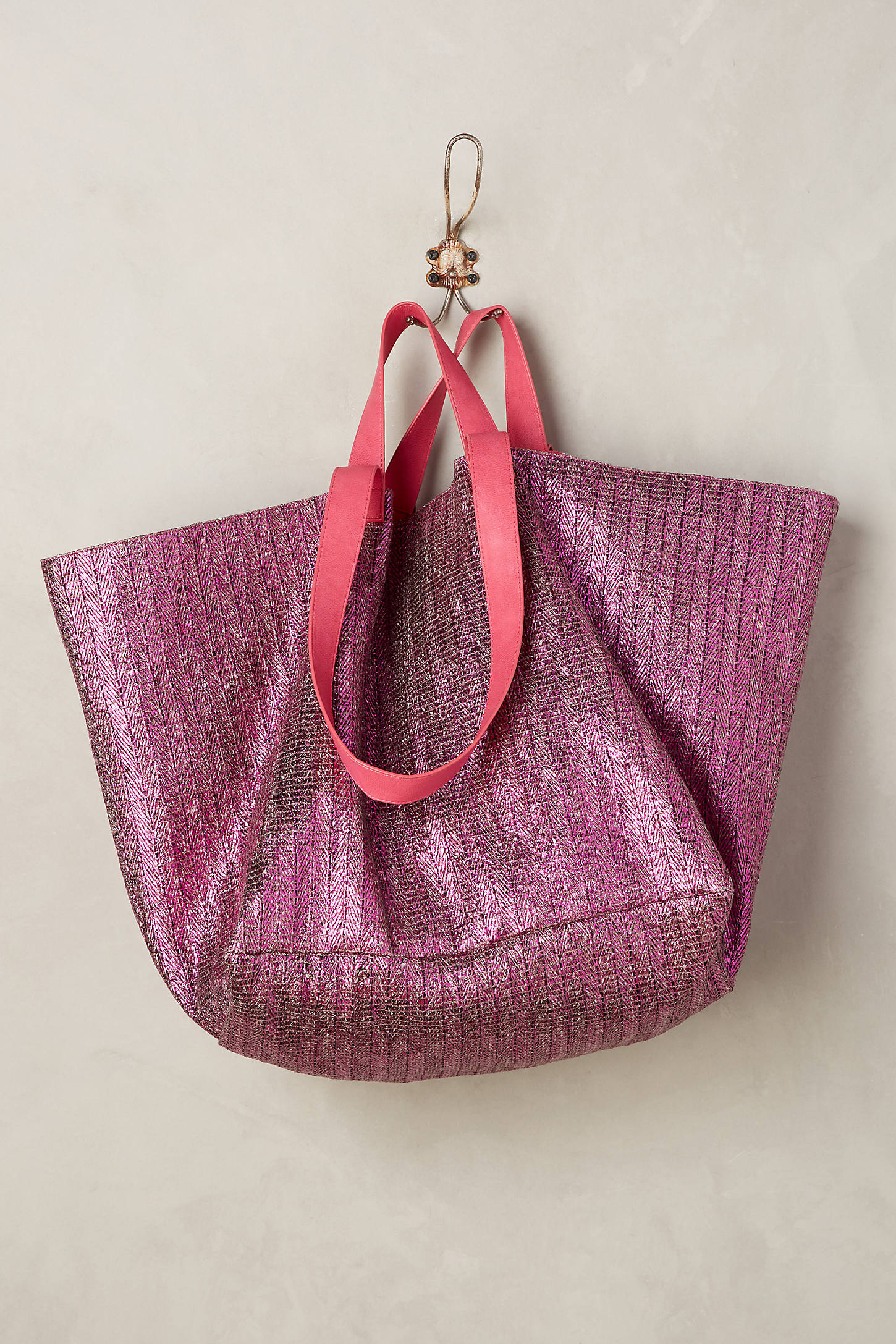 Shimmered Straw Tote