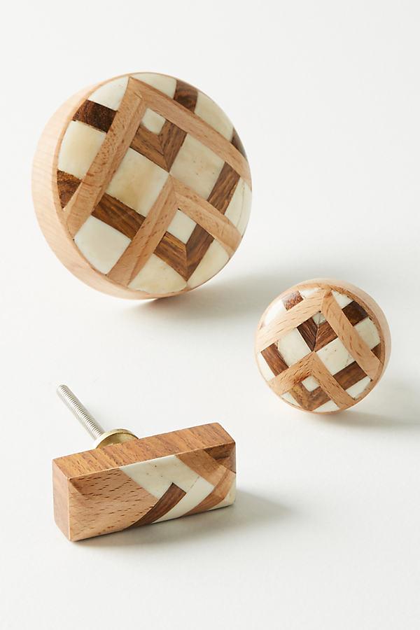 Marquetry Inlay Knob - Cedar, Size Xs