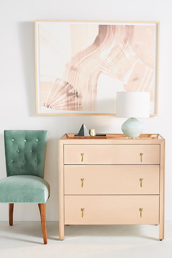 Mirrored Gracemere Three-Drawer Dresser - Peach