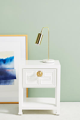 Slide View: 1: Lacquered Carre Nightstand