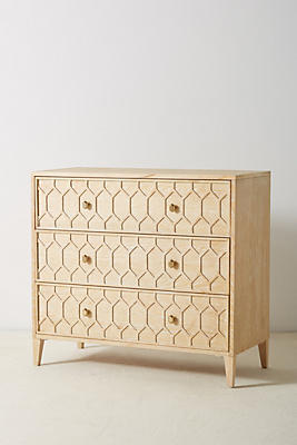 Slide View: 1: Textured Trellis Three-Drawer Dresser