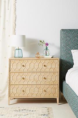 Slide View: 1: Textured Trellis Three-Drawer Dresser