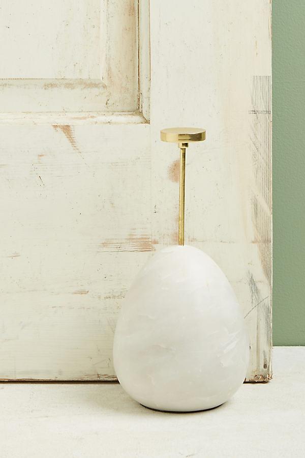 Marble Egg Doorstop - White