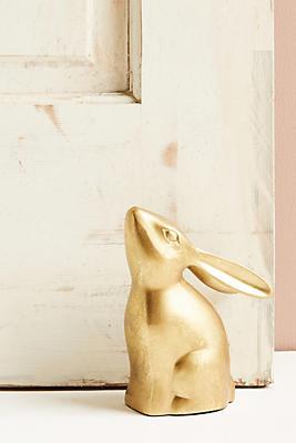 Slide View: 1: Golden Rabbit Doorstop