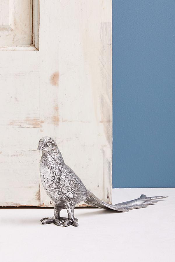 Friendly Pheasant Doorstop - Silver