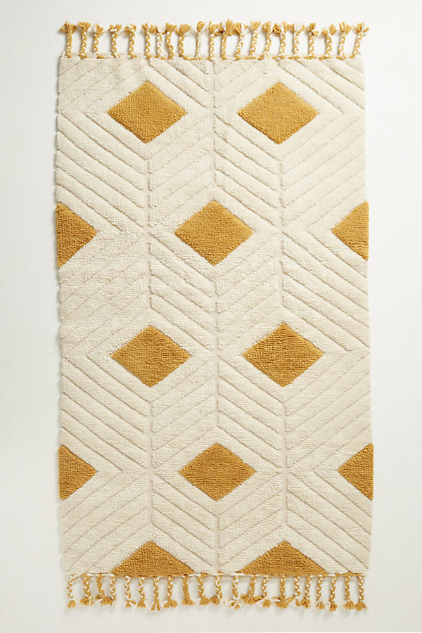 Diamond Ripple Rug - Gold, Size 9 X 12