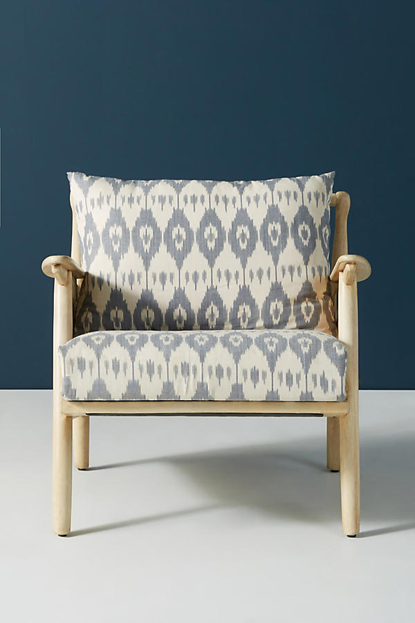 Slide View: 2: Ikat-Printed Cane Chair