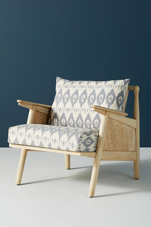 Slide View: 3: Ikat-Printed Cane Chair