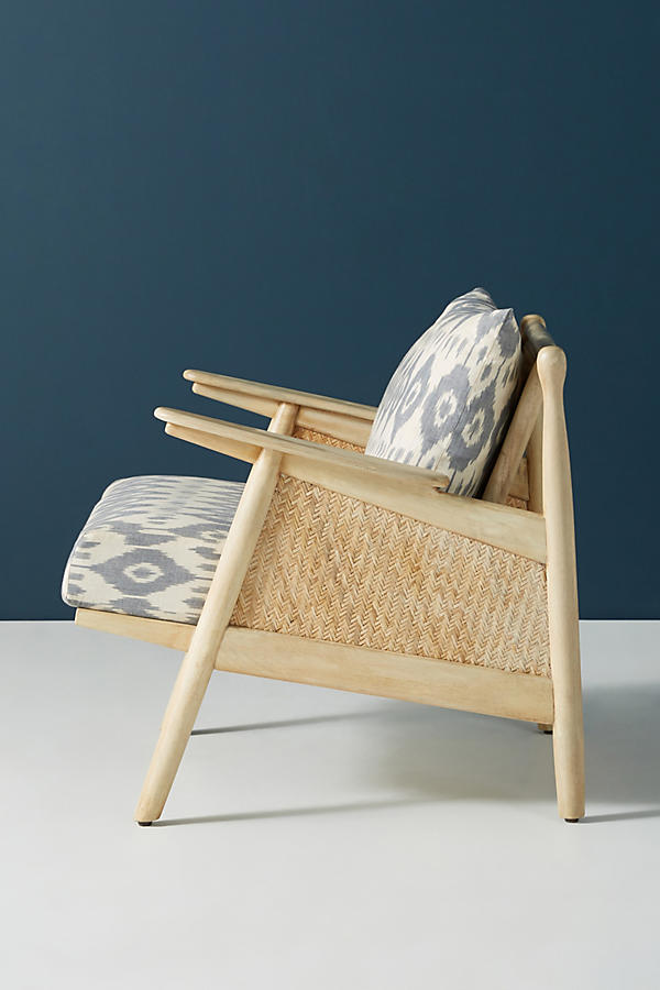 Slide View: 4: Ikat-Printed Cane Chair