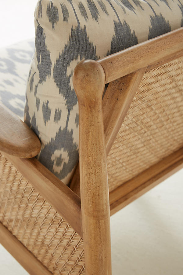 Slide View: 8: Ikat-Printed Cane Chair