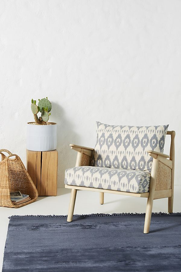 Washed Ikat Cane Chair | Anthropologie