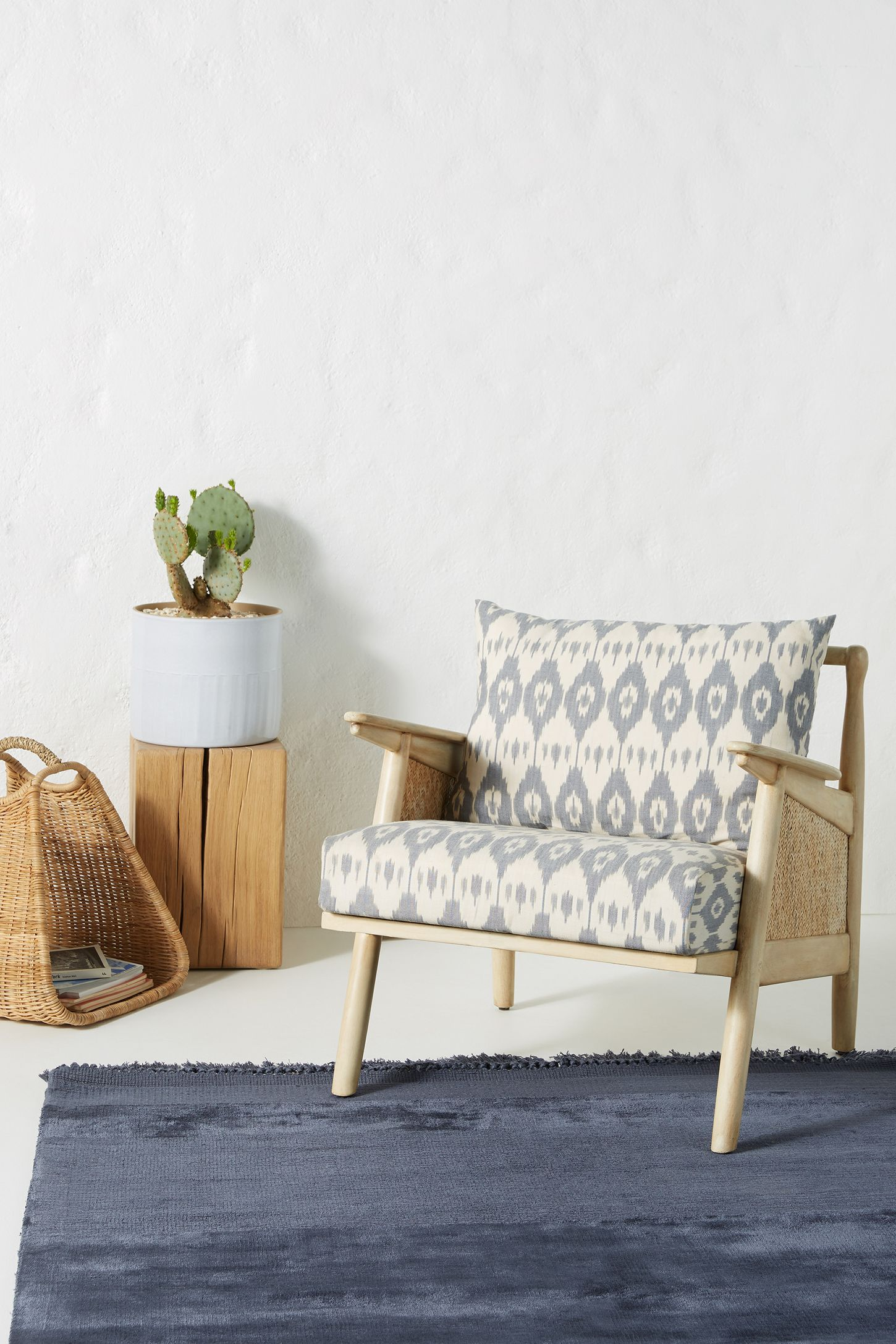 Ikat Printed Cane Chair