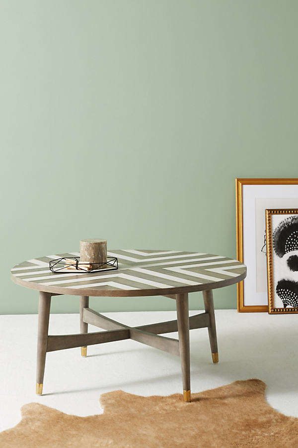 Chevron Inlay Coffee Table - Grey
