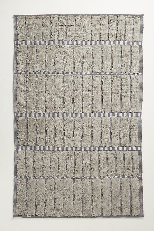 Tufted Block Rug - Grey, Size 3 X 5