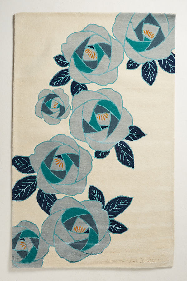 In Bloom Rug - Mint, Size 8 X 10