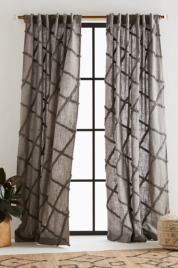 Embroidered Berea Curtain - Grey, Size 50 X 84