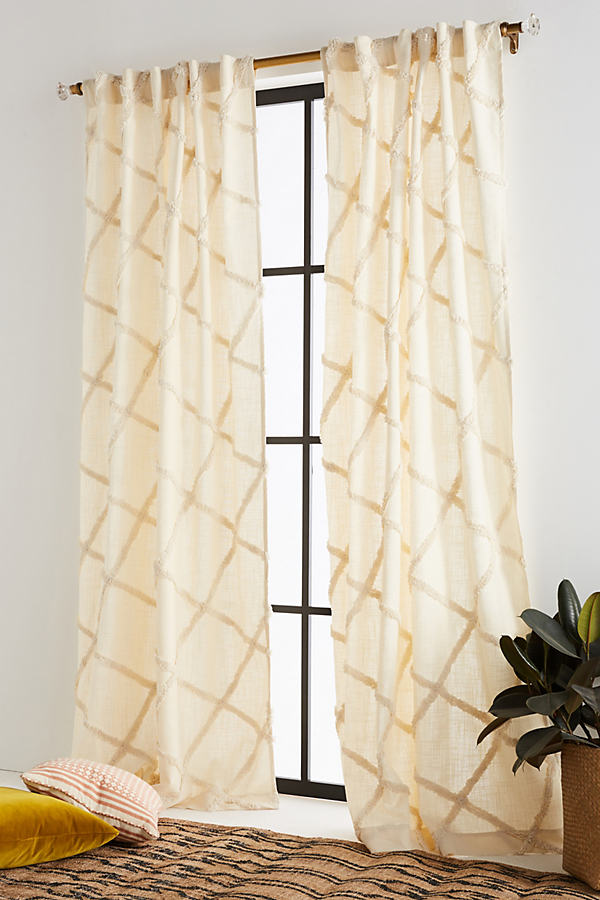 Embroidered Berea Curtain - Cream, Size 50 X 108