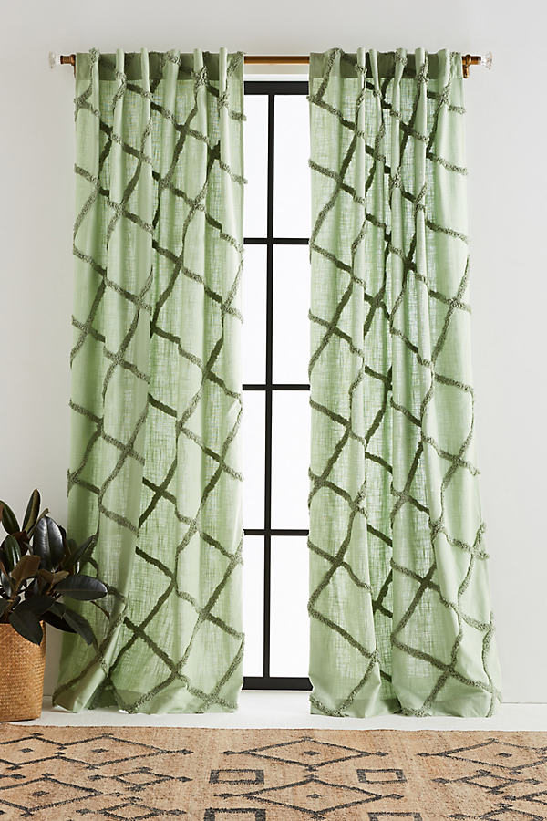 Embroidered Berea Curtain - Moss, Size 50 X 108