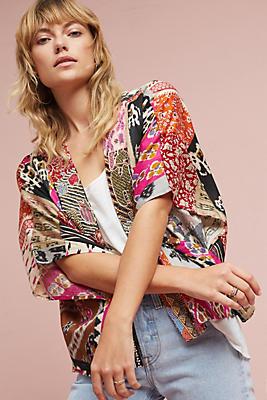 Slide View: 1: Cropped Patchwork Kimono