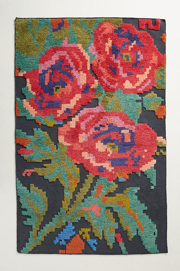 Rose Trio Rug - Red Motif, Size 4 X 6